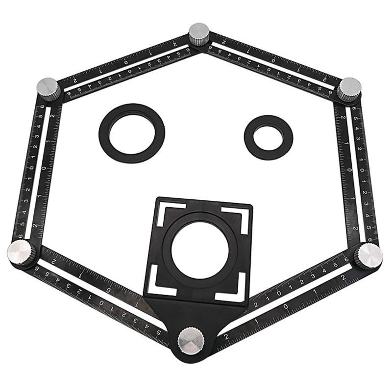 Regla de medición de ángulo multifuncional de aluminio con 6 pliegues