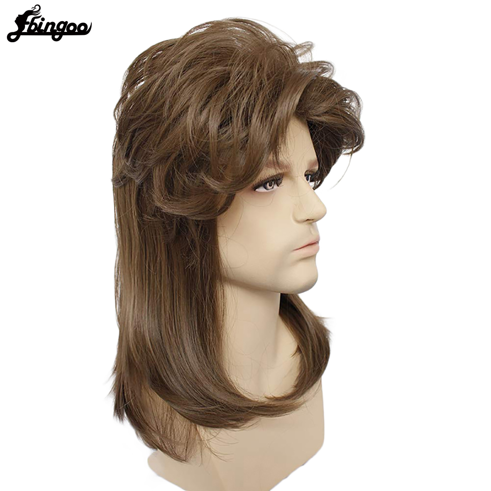 Ebingoo 70s 80s Halloween Rocking Dude Punk Metal Rocker Disco Mullet Long Straight Synthetic Cosplay Wig For Men Costume Party