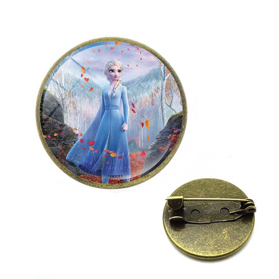 Putri Cantik Elsa Anna Bros Putri Elsa Queen Salju Kerusakan Pin Kerah Pin Perhiasan Hadiah untuk Gadis Anime Jilbab Pin