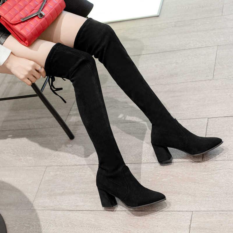 Hakken laarzen dunne benen schoenen vrouw winter knie laarzen goedkope schoenen 2019 Overknee Laarzen Hoge Lange Elastische Laarzen