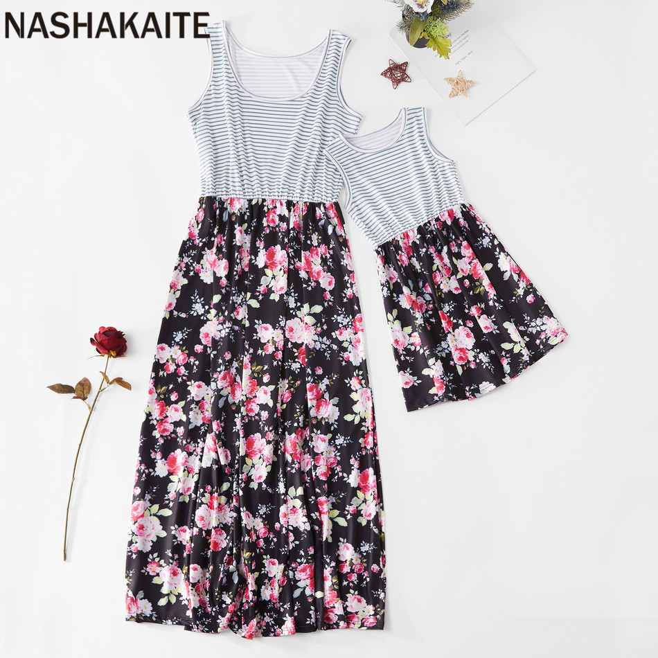 H243d2eb0cbee4898a735cd2f2304fa01W - NASHAKAITE Mother daughter dresses Floral Printed Long Dress Mommy and me clothes Family matching clothes Mom and daughter dress
