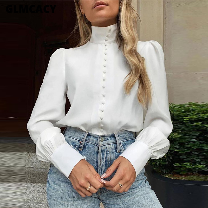 Women Solid Long Sleeve Single Breasted Blouses Tops Classy OL Workwear Chic Streetwear Autumn Shirts Elegant Tops