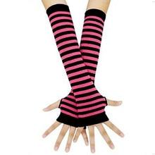 Guantes sin dedos de las mujeres de malla a rayas largo medio dedo muñeca tatuaje mangas brazo calentadores de mano suave, de punto emparejado cubre