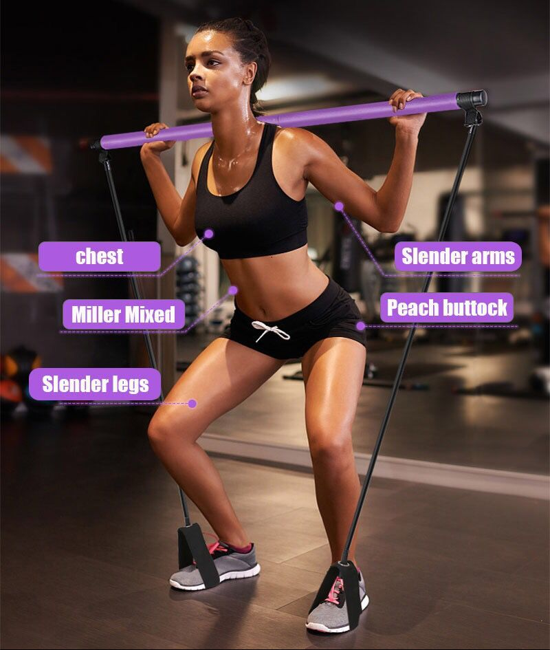 Pilates Fitness Yoga Exercise Sports Pilates Bar Stick And Portable Elastic Rope Pull Band Exercise Sports Fitness Stick