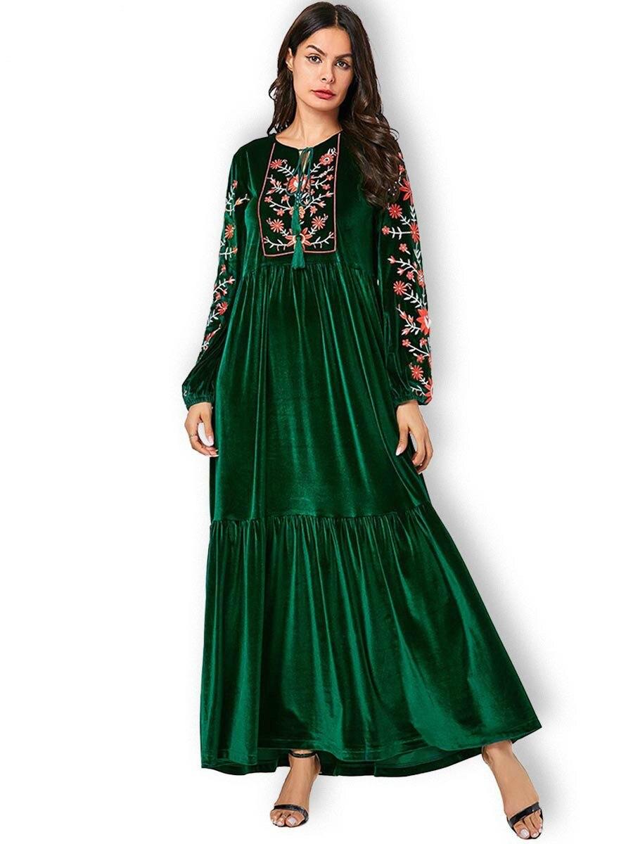 Abaya Dress Muslim Fashion Plus Size Women Pakistani Green Embroidered Bow Gold Velvet Long Skirt  Islamic Clothing