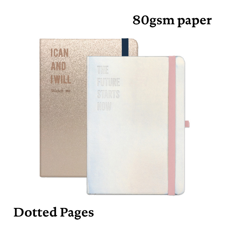 Bullet Dotted Journal Dot Grid Notebook        Hard Cover Laser Elastic Band Travel Bujo Planner Diary