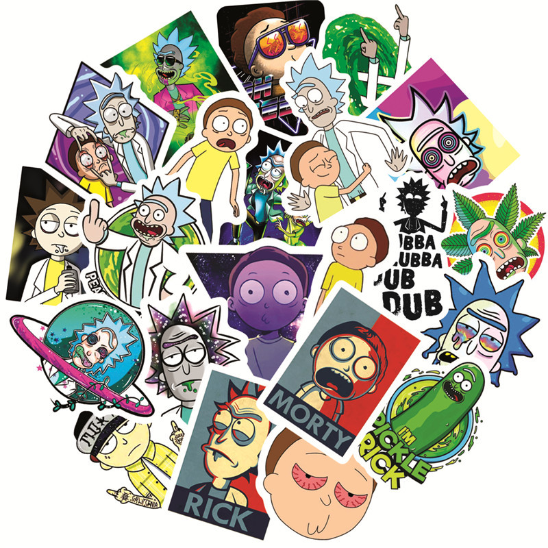 50Pcs/American Drama Rick and Morty Funny Sticker Decal for Car Laptop Bicycle Motorcycle Notebook Waterproof Stickers