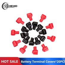 20Pcs Terminal Laarzen Ronde Zwart Rood Batterij Isolerende Covers Rubber Skins(China)