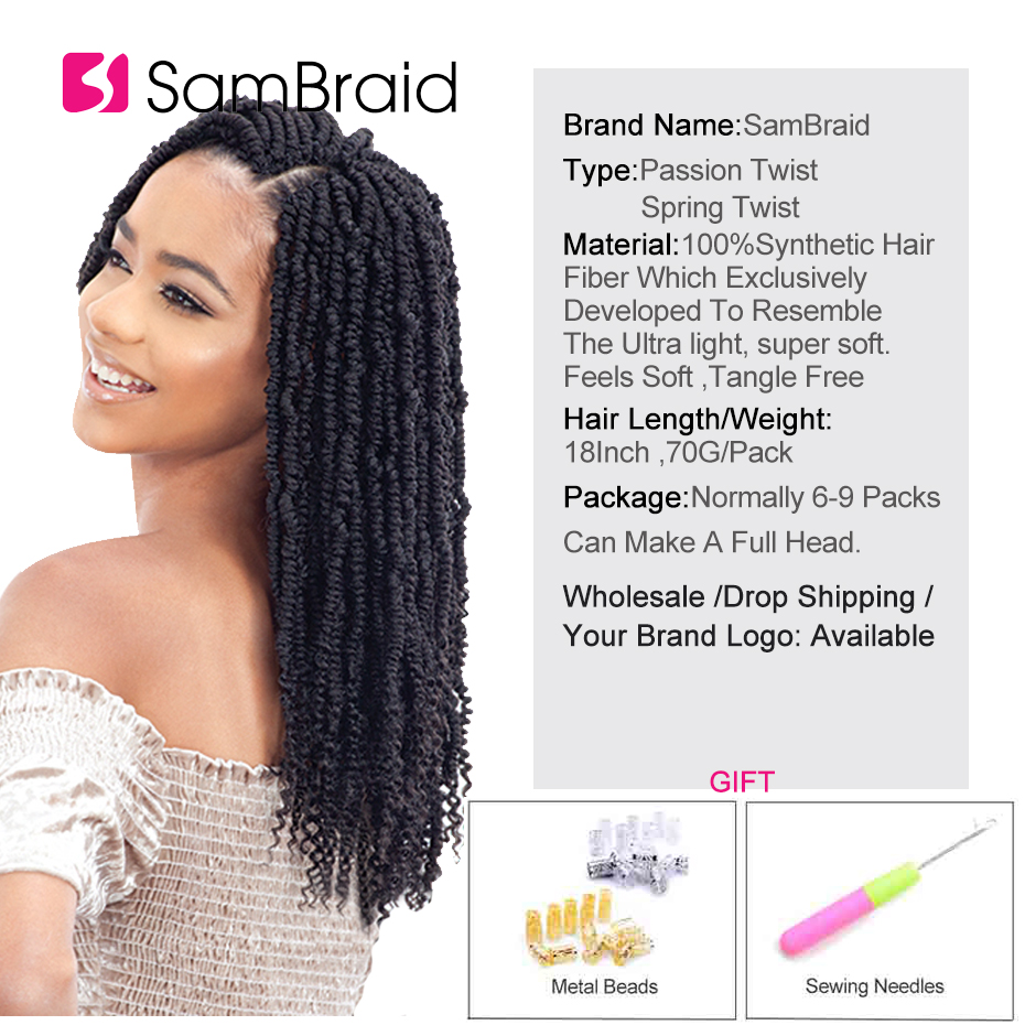 SAMBRAID 18Inch Passion Bpmb Hair Extensions Ombre Synthtic Crochet Braids Hair Fiber Pre looped Fluffy Spring Twists For Women