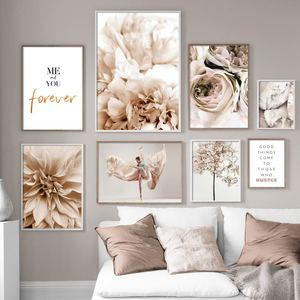 Peony Flower Leaf Plant Dance Woman Quote Wall Art Canvas Painting Nordic Posters And Prints Wall Pictures For Living Room Decor