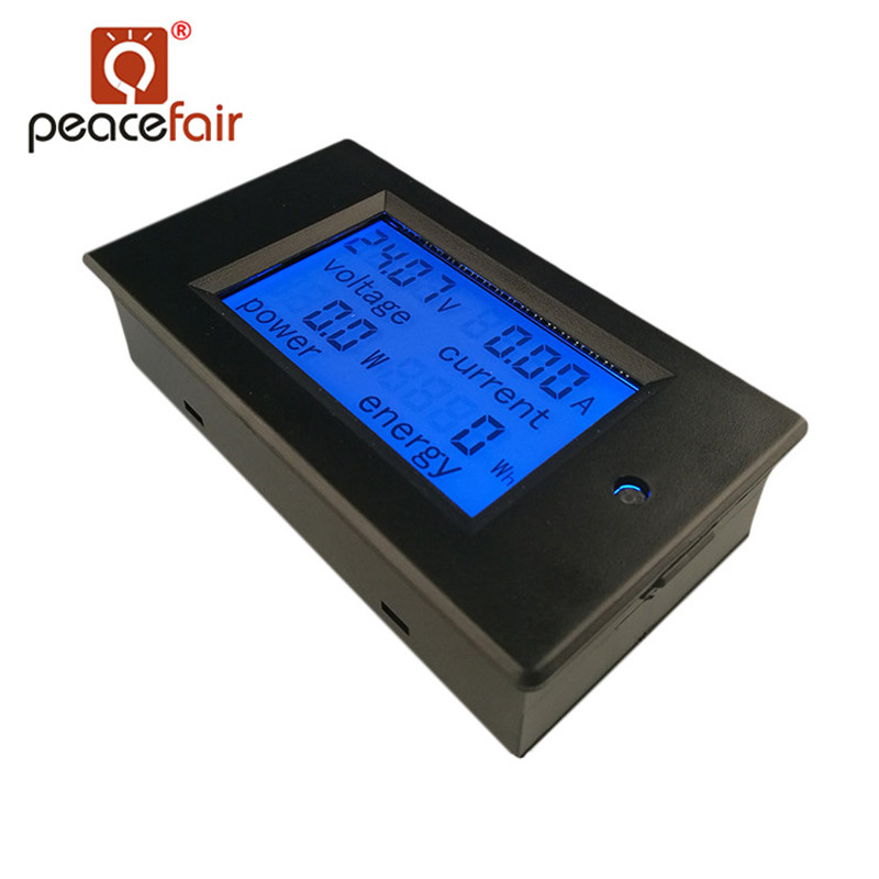 PEACEFAIR DC Digital Panel Voltmeter Ampere Meter 6.5-100V 4 IN1 LCD Volt Current Watt Power Consumption Meter Bulit-in Shunt