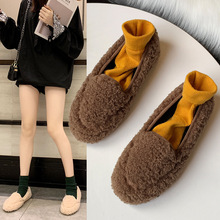 Купить с кэшбэком freeshipping2019 Autumn winter women shoes Korean wild plus velvet lamb wool flat bottom shallow mouth low help furry shoes