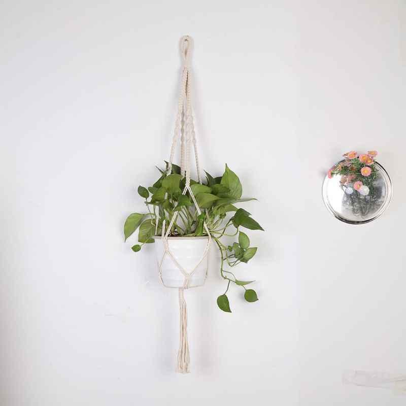 BasketsHand-tecido de Algodão Corda de armazenamento Cabides de Plantas Vaso de Flores Plantador de Suspensão Cesta Titular Para Varanda Decoração Do Jardim