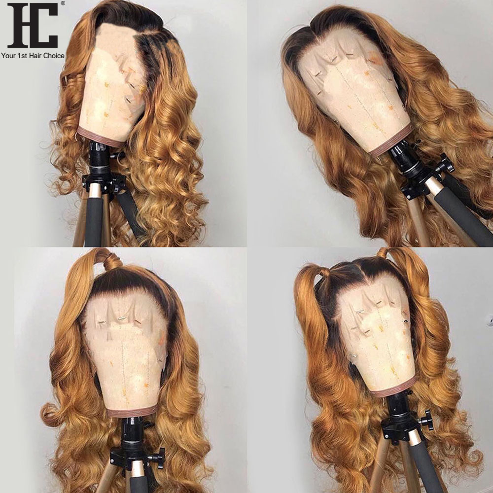 HC 13x4 Lace Front Wig Peruvian Body Wave Remy Ombre 4/27 Two Tone Human Hair Lace Wigs Pre Plucked Bleached Knots For Women HC