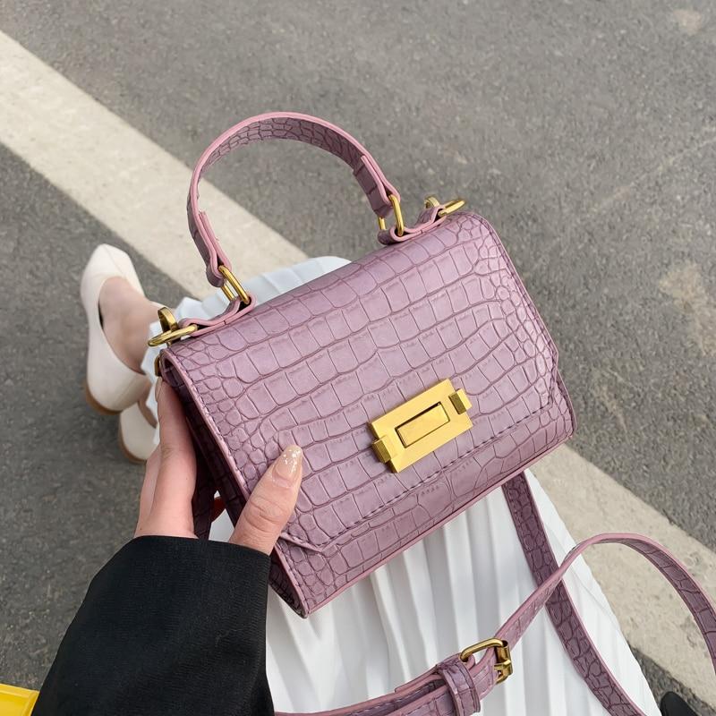 Stone Pattern Pu Leather Crossbody Bags For Women 2020 Lady Mini Totes Female Travel Shoulder Handbags Luxury Cross Body Bag