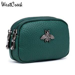 Женский кошелек для монет из натуральной кожи, Женский дорожный Органайзер на двойной молнии, мини-сумка, женская сумка для хранения, малень...
