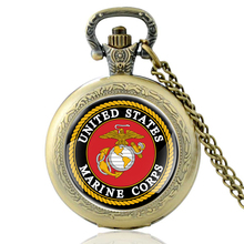 High Quality Vintage United States Marines Glass Dome Quartz Pocket Watch Classic Men Women military Necklace Pendant Gifts