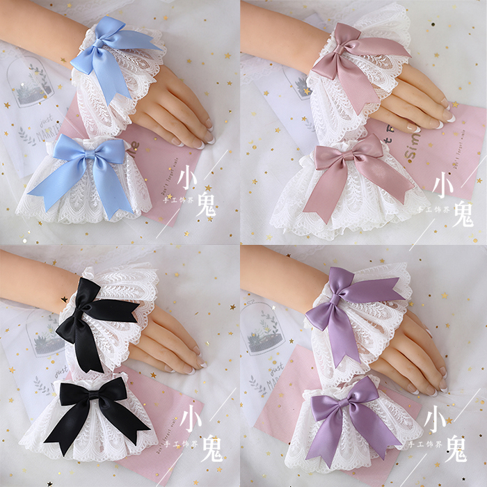Multicolor Japanese Sweet Lolita Hand Wrist Cuffs Bow Lace Maid Cosplay Hand Ornament Girl Party Magic Angel Handle Hand Sleeve