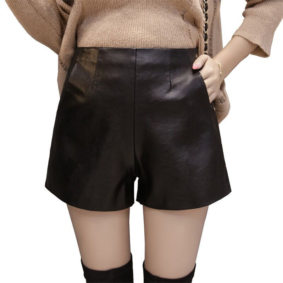 Shorts Womens High Waist Zipper PU Leather Autumn Winter Casual Plus Size Width-Leg Shorts Female Fashion Short Pants Streetwear