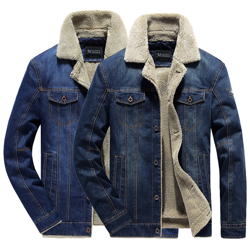 Hommes Chic Hiver Fourrure Doublé Veste en jean bleu denim manteau oversize épais manteau chaud