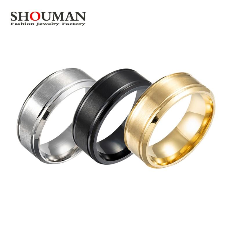 Простые обручальные кольца SHOUMAN из нержавеющей стали черного и золотого цвета для мужчин и женщин, модные ювелирные изделия