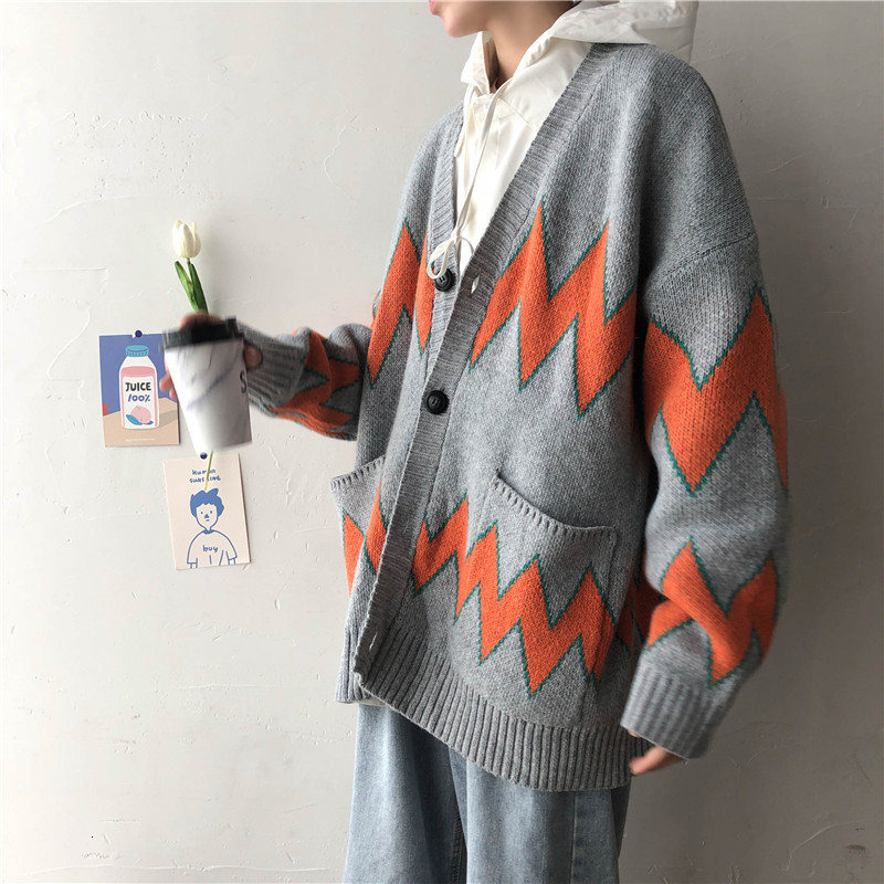 UYUK2019 Fall Trend Fashion Loose Casual Quality Street Style Korean Version Of The Rhombic Cardigan Men's Sweater Clothes