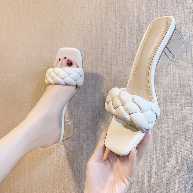Transparent High Heels Sexy Ladies Woman Slippers New Summer Shoes Square Heel Weave Square Toe Slippers Ladies Leather Shoes 1