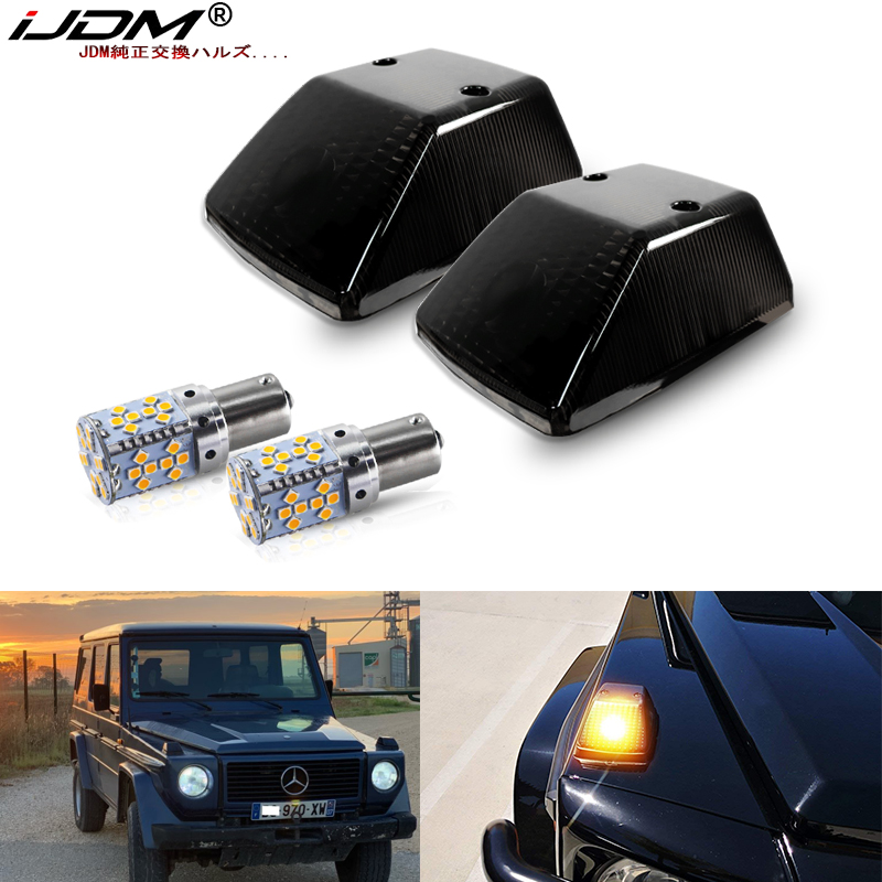 IJDM OEM Frente Turn Signal Luz Cobre w/ 7507 Erro Free LED Lâmpadas Para 1986-2018 Mercedes W463 G-Classe G500 G550 G55 G63 G65