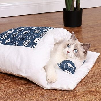 Removable Dog Cat Bed Cat Sleeping Bag Sofas Mat Winter Warm Cat House Small Pet Bed Puppy Kennel Nest Cushion Pet Products image