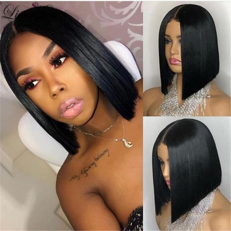 Lace Front Wig Straight Short Bob Remy Hair Brazilian Human Hair Wigs