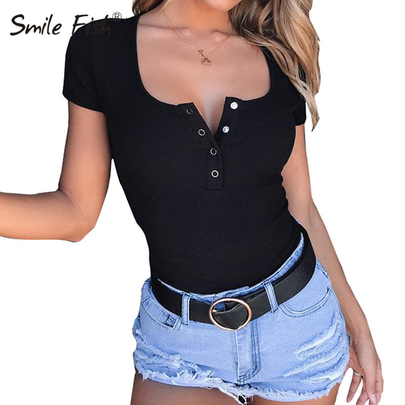 Buttons Scoop Neck Sexy Skinny Body Suit Tops Women Short Sleeve Bodycon Romper Bodysuits Female Short Jumpsuits Overalls GV168