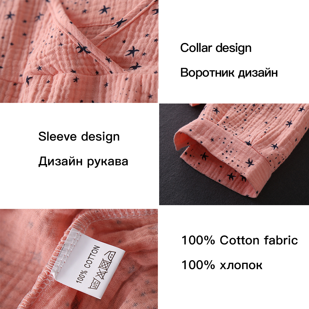 Women's Cotton Water-washed pajamas for women Pyjamas Sleepwear Pijamas Texture Crepe Gauze Long-sleeved Trousers Pajamas V-Neck 26