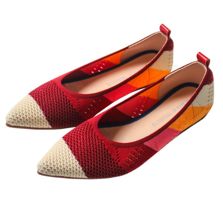 Womens Flats Loafer Moccasins Driving Work-Shoes Knitted Slip-On Breathable Fashion Ladies