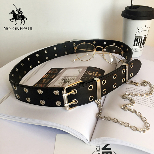 Genuine Leather New Punk style fashion Pin Buckle Decorative Chain luxury brand belts for women 4
