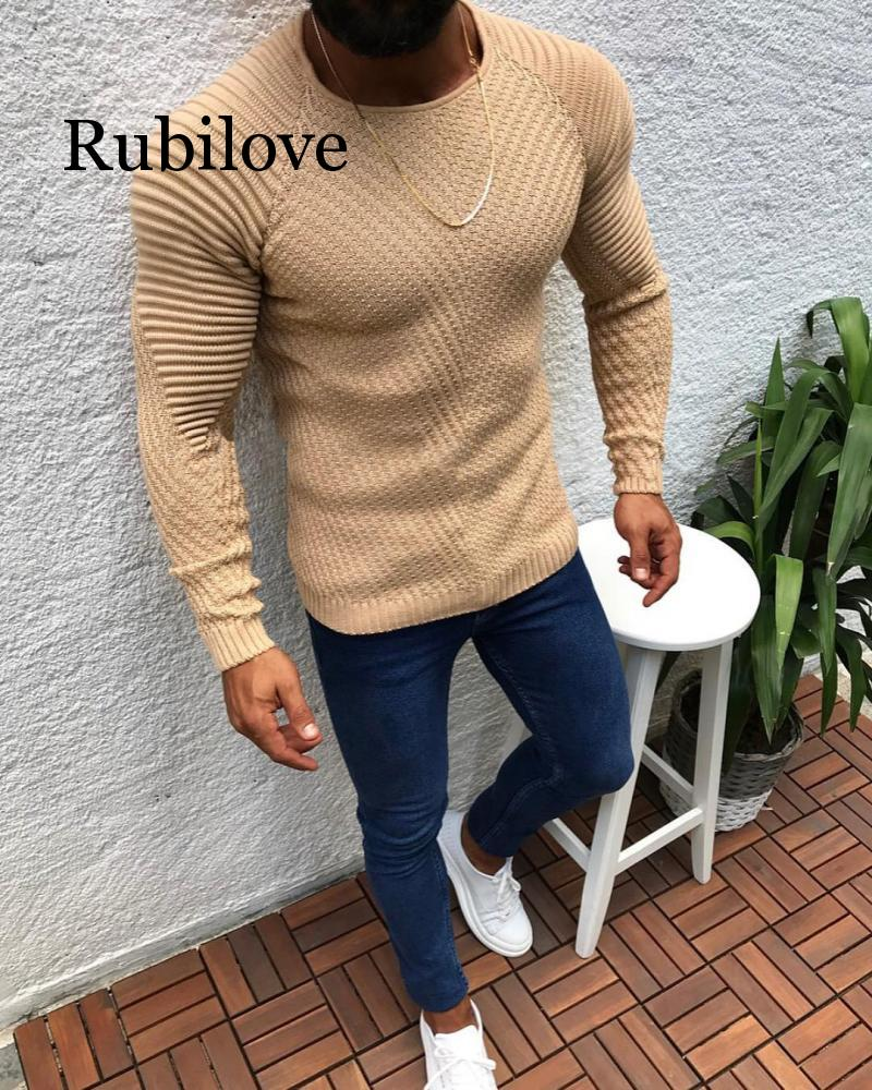 Autumn Winter Sweater Men 2019 New Arrival Casual Pullover Men Long Sleeve O-Neck Patchwork Knitted Solid Men Sweaters