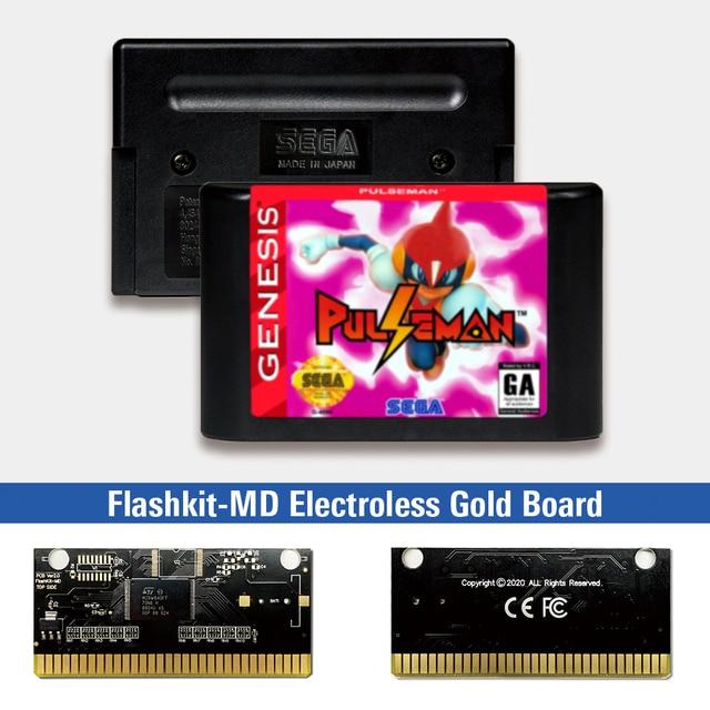 Pulseman Pulse man   USA Label Flashkit MD Electroless Gold PCB Card for Sega Genesis Megadrive Video Game Console