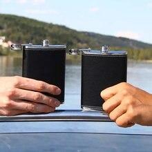 8 унций черная фляга прошитая кожа портативный чайник металлический