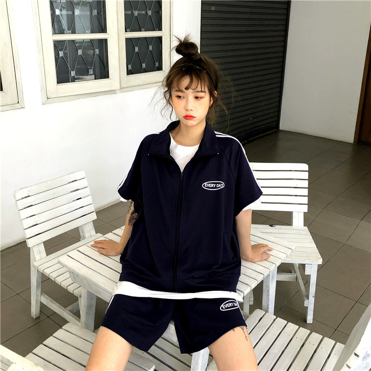 Photo Shoot 2019 WOMEN'S Dress Summer Korean-style Loose Short Sleeve Cardigan Coat + Wide-Leg Shorts Leisure Sports Suit