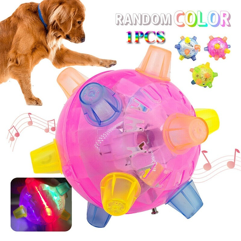 1PCS Flashing Pet Dog Bounce Ball for Games Light Up LED Jumping Joggle Chew Toys