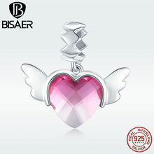 BISAER Charms 925 Sterling Silver Heart Shape Pink Crystal Wing Pendant Beads fit for Women Charm Bracelet or Necklace GXC846 chic silver heart wing bracelet for women
