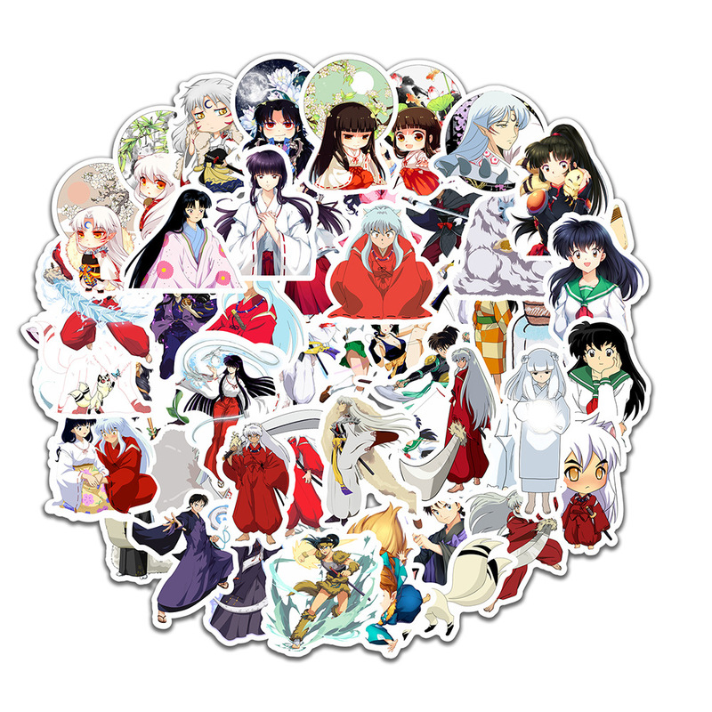 50pcs/set Cartoon Anime Inuyasha Sticker Waterproof Suitcase DIY Laptop Guitar Skateboard Toy Lovely Sticker