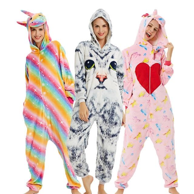 26 ใหม่ผู้หญิงชุดนอน Flannel สัตว์ชุดนอนยูนิคอร์นคอสเพลย์ผู้หญิงฤดูหนาว panda Nightie ชุดนอน hooded Homewear