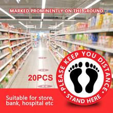 Social Ground Distancing Sign Isolated label Eye Catching Size 10.5x10.5inch Distance Marker Floor For Store Bank hospital 504#2