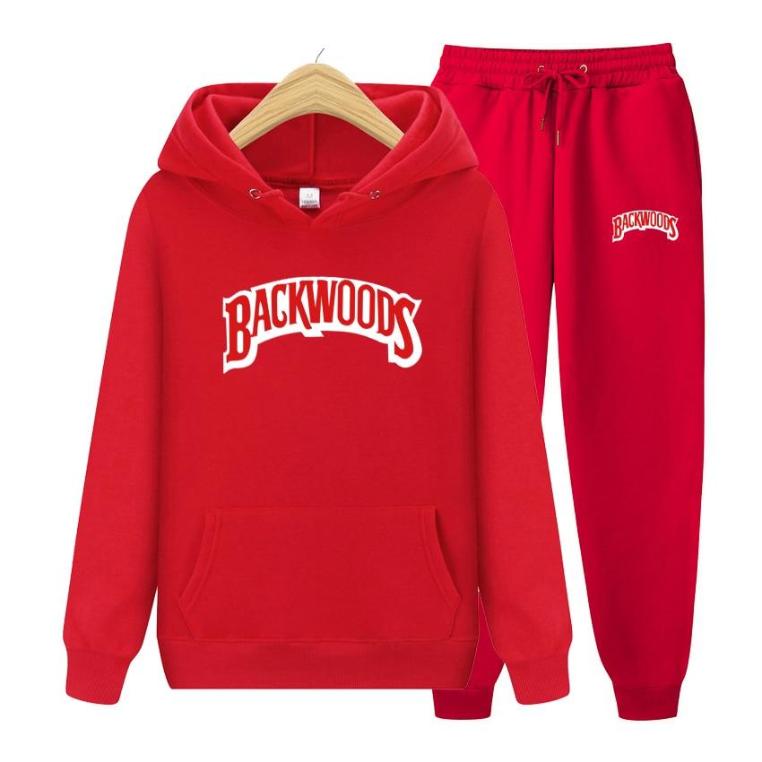 2020 New BACKWOODS Printed Hoodies Men Sweatshirts+Pants Autumn Winter Plus Fleece Fashion Hoody Sportswear Male Pullover