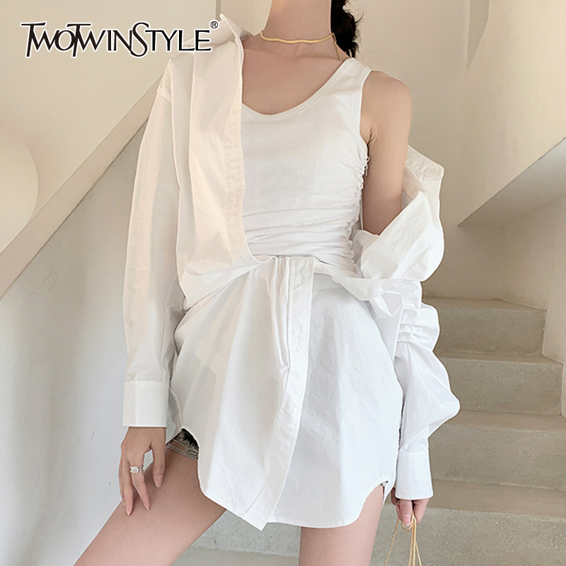 TWOTWINSTYLE Elegant Dresses Female Lapel Collar Long Sleeve High Wiast Irregular Hem Ruched Summer Dress Women Clothes 2020 New