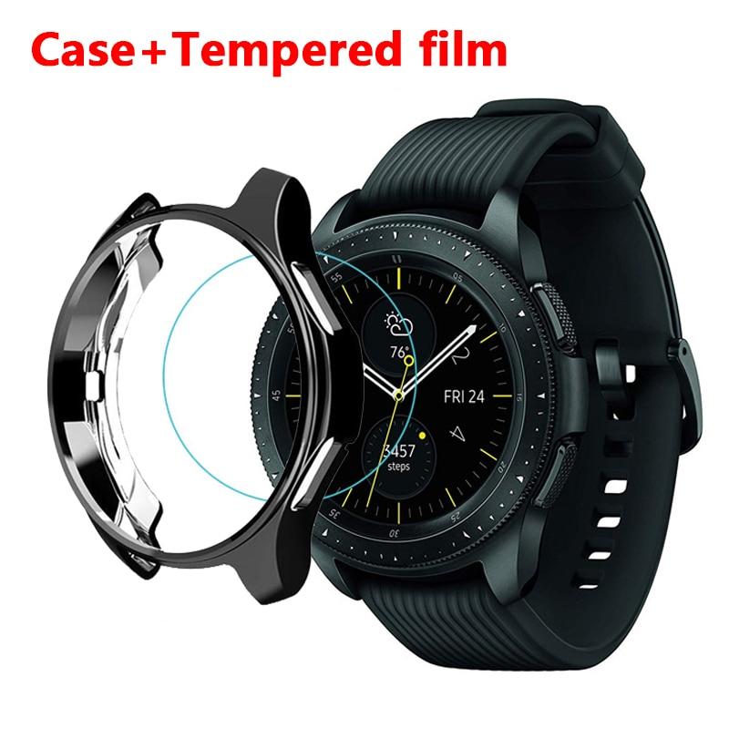 galaxy watch case+film for Samsung Gear S3 frontier Galaxy Watch 46mm 42mm galss bumper soft smart watch accessories case+film