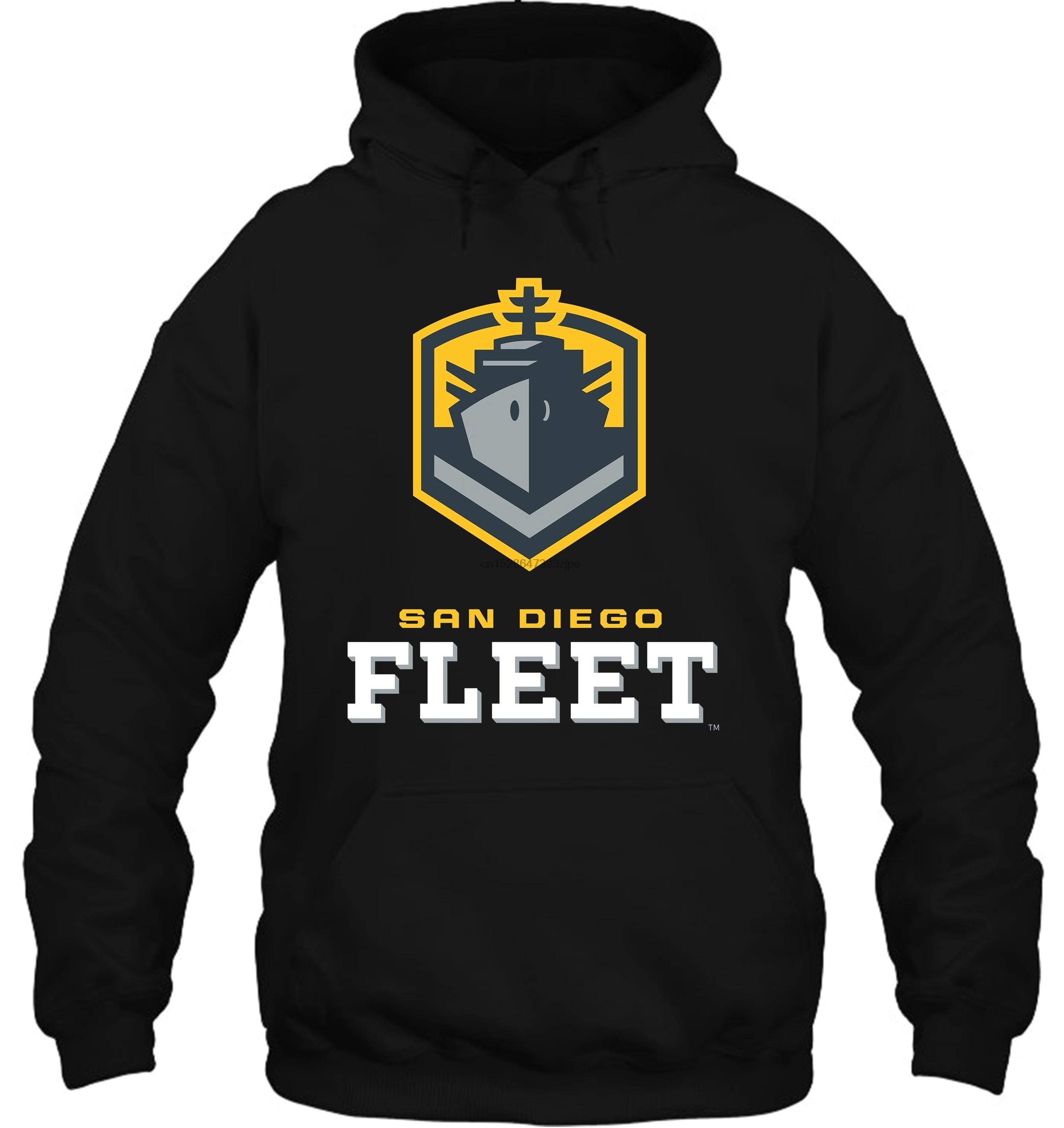 San Diego Fleet US Alliance Football Team Logo Black S 6XL Streetwear Men Women Hoodies Sweatshirts