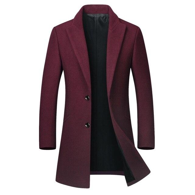 Winter Wool Jacket Men's High-quality Wool Coat casual Slim collar wool coat Men's long cotton collar trench coat 4