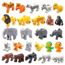 Big Building Blocks Duploe Animal Zoo Accessories Lion Tiger Elephant Parrot Monkey Assemble Blocks Toys For Children Gifts