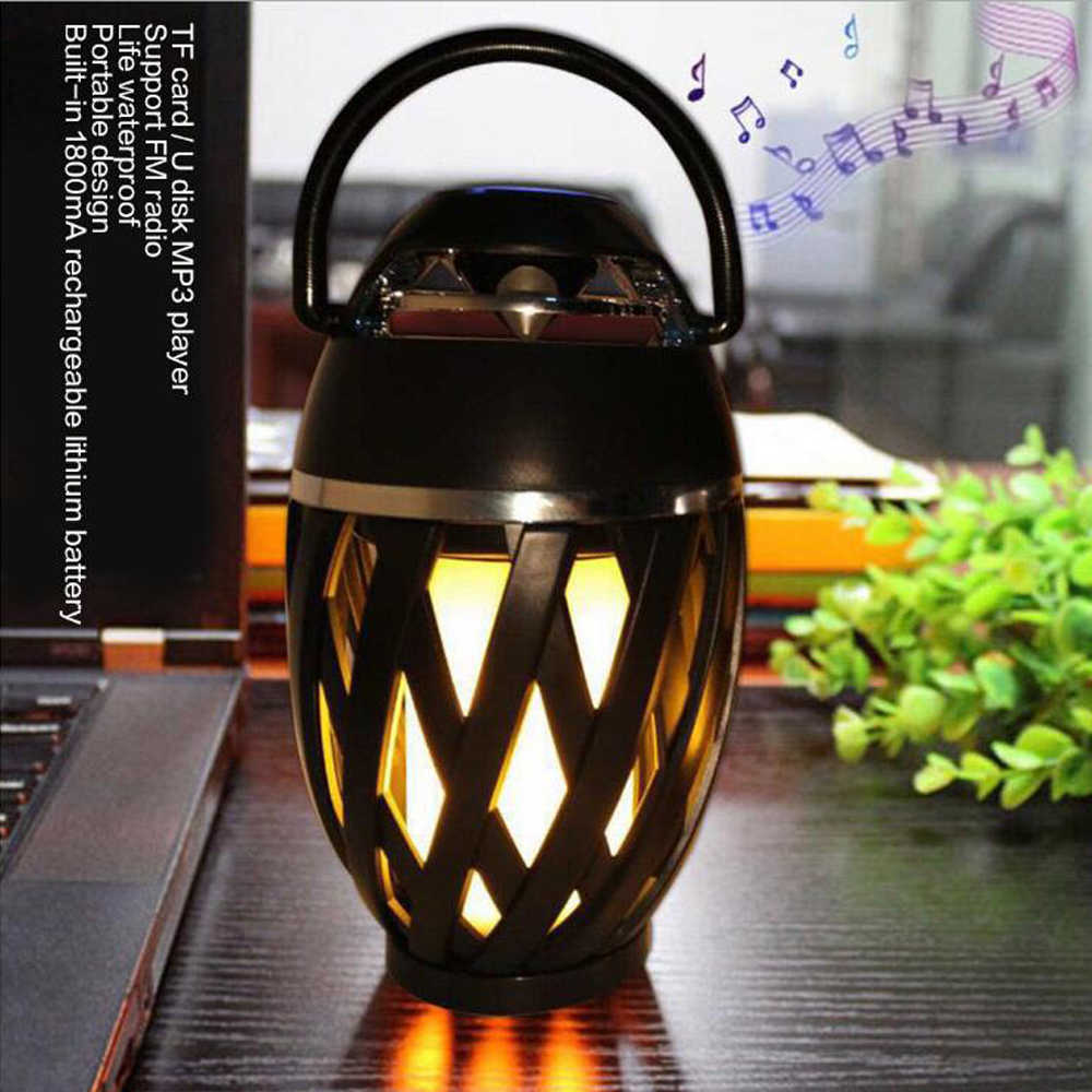 Led Speaker Flame Bluetooth Mini Woofer Portable USB Lights Outdoor Atmosphere Lamp Stereo Speaker Outdoor Camping Loudspeaker